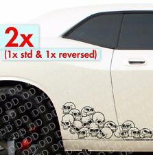 2x Side Pile of Skulls Rock Punk Goth Hot Rod Car Truck Body Vinyl Sticker Decal