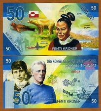 Greenland, 50 Kroner, 2017, Private Issue Kamberra, UNC >  Rusmussen, Nansen