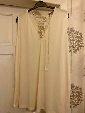 Ladies New Asos Curve Cream Sleeve Tunic Top Size 24
