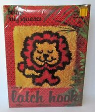 "BETTY'S RUG SQUARES 12"" X 12"" LION LATCH HOOK KIT, New In Package"