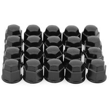 17mm Black Lug Nut Covers 20pc Set for Auto Car Wheel Rim Tire Bolt Center Caps (Fits: Daewoo)