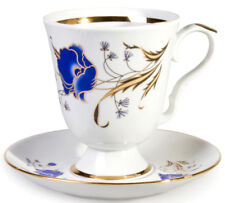 Large Mug with Saucer Floral Decal Made in Dulevo, Russia 20 fl oz