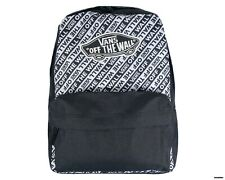 "VANS Off The Wall Realm Backpack - Black / White - ""Off The Wall"" Print All-Over"