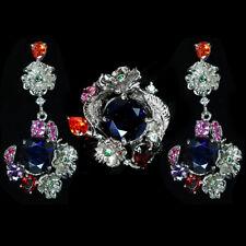 MARVELOUS RICH BLUE SAPPHIRE 13.25 CT. STERLING 925 SILVER FLOWER RING/EARRINGS