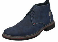 Mens New Blue Leather Lined Desert Fashion Ankle Boots Size 6 7 8 9 10 11 12