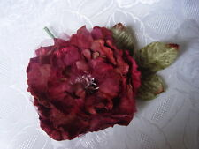 LARGE  VELVET and ORGANZA  MILLINERY PEONY ROSE - burgundy