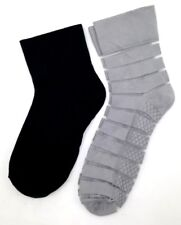 $30 BLOOMINGDALE'S New Women's 2-Pairs Pack BLACK & GRAY Ankle Socks ONE-SIZE