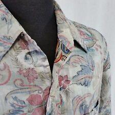 Go Barefoot Hawaiian Aloha Camp Shirt Reverse Print Mens XL Floral USA Made VTG