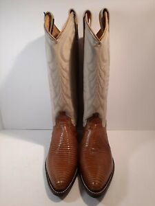 Vintage Dan Post Taupe Lizard & Leather Western Cowboy Boots Women's 6.5 M