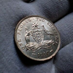 1910 Australia Florin coin (Choice UNC)