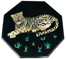 "18"" Black Marble Coffee Table Top Multi Stone Tiger Art Inlay Home Decors B212"