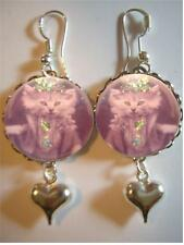 Antique Cat Photo Sterling Silver Bubble Earrings - Vintage Dressed Cat