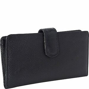 Buxton Leather Tab Checkbook Cover & Credit Card Zippered Holder Bill Wallet