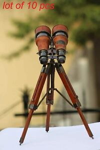 Antique brass telescope leather binocular with wooden tripod desk collectible