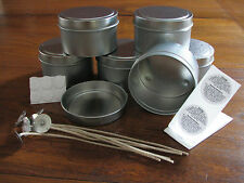 6 x Travel Tins 170gm Soy Wax Candle Making Supplies + Wicks, Stickums, Warning