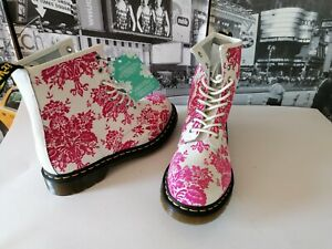 Dr. Martens Flocked collection Pink white Ladies 8 Eye ankle Boots Floral US 9