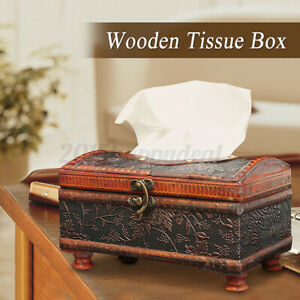 Wooden Paper Box Retro Wooden Tissue Napkin Holder Case Cover Classic With Legs
