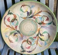 More details for very large vintage denby glyn colledge hand painted signed stoneware fruit bowl
