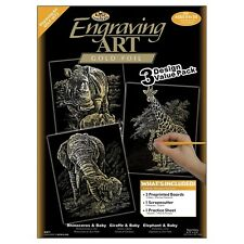 Royal & Langnickel Gold Engraving Art A4 Gold African Animals Designed Painti...