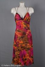 Cache womans dress size 6 pink brown silk watercolor spaghetti straps SEXY