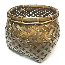 "9"" Lacquer Coated Storage Basket Container Wickerwork Handcraft Thai Craft Decor"
