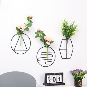 Iron Geometric Glass Test Tube Wall Hanging Vase Hydroponic Plant Hold Art Decor