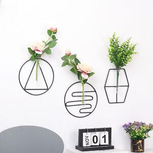 Iron Geometric Glass Test Tube Wall Hanging Vase Hydroponic Plant Hold Art Decor