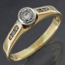Bezel Set Solid 9k Yellow & White GOLD SOLITAIRE RING with 6 Accents Sz N1/2