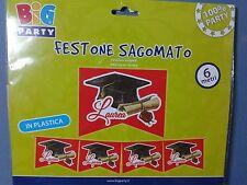 FESTONE STRISCIONE TOCCO LAUREA SAGOMATO 6 MT IN PLASTICA  PARTY FESTA