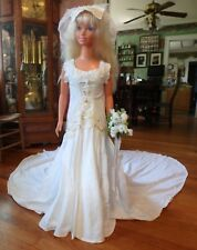 "3 pc Off White and White Cotton Wedding Gown for 36"" My Size Barbie Doll Mywd107"
