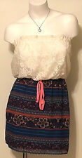 NWT CITY TRIANGLES STRAPLESS CROCHET DRESS FLORAL/STRIPES SIZE MED MSRP $40.00