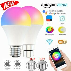 LED Wifi Smart Light Bulb 15W Dimmable RGB Lamp E27/B22 For Alexa Google Home HK
