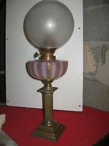 lampe a pétrole ancienne grand réservoir en verre opaline de Clichy tbe