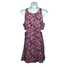 Zara Trafaluc Womens Dress Size L EUR Purple Sleeveless Floral Cut Outs