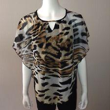 Dressbarn Poncho Blouse Size S Small Womens Shirt Top Leopard Print Chiffon