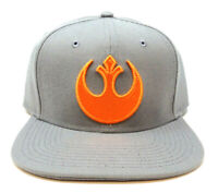 STAR WARS GREY REBEL ALLIANCE 3D ORANGE LOGO SNAPBACK HAT CAP FLAT BILL RETRO