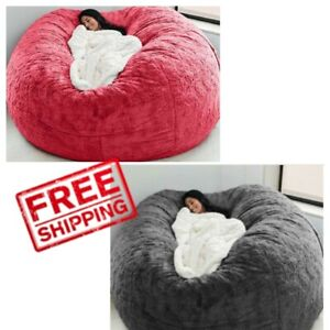 Giant Fluffy Fur Bean Bag Bed Slipcover Case Floor Seat Couch Futon Lazy Sofa R