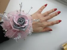 Pink & Silver Wrist Corsage Prom / Wedding Flowers Rose Bride Maid Mother