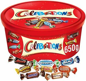 Celebrations Tub Chocolates Tin Christmas Gifts Box 650G