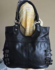 Frye Selena Black Belted Leather Silver Buckles Shoulder Tote Bag $428.00 NWT