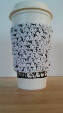 HANDMADE CROCHET COFFEE CUP COZY | COTTON SUPER ABSORBENT | BLACK & WHITE COZY