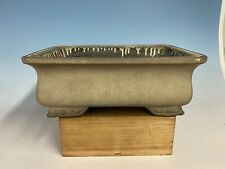 "Stunning Cream Glazed Tokoname Bonsai Tree Pot By Koyo 15"" Great Patina"