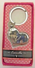 V INITIAL Camille heart silver color personalized KEYCHAIN BRAND NEW IN PACKAGE