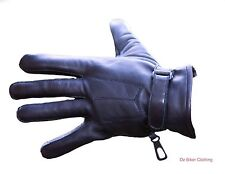 Leather Motorcycle Gloves - 3 Pleat - Comfortable Fit - Oz Biker - Size: LARGE