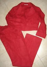 completo tailleur CANNELLA: pantalone+giacca 100% lino-taglia 42/S-rosso/red