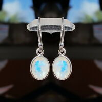 315C Rainbow Moonstone Solid 925 Sterling Silver faceted gemstone earring rrp$50