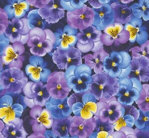 Pansy Paradise by Chong A Hwang Purple Cotton Quilt Fabric by the Half Yard