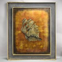 Reverse Glass Art Painting Signed Renee Ship Nautical Maritime Metallic 23/250