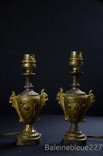 Antique French Doll Size Gilt Metal Urns Lamps Roses Lions Romantic 1900 Boudoir