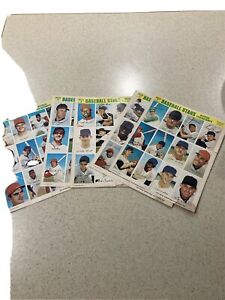 1969 MLB Baseball Stars Official Photostamps 5 Uncut Sheets Series 2 3 4 6 7 Lot
